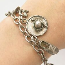 "Vtg Mexico 925 Sterling Silver Tribal Assorted Dangling Charm Bracelet 8"""