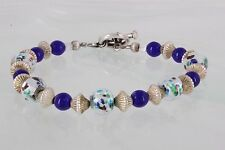 Beaded Bracelet Fine 925 3073B Sterling Blue, Silver & Foil