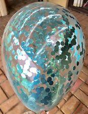 3x Metallic Aqua Blue Clear Confetti Balloons 1st Birthday Wedding Frozen Party
