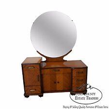 Vintage Art Deco Satin Wood Vanity w/ Mirror