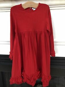 Just Blanks Dress 6 Red Holiday Christmas Ruffle Twirl Monogram Valentines