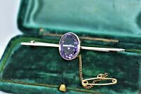 Vintage 9ct gold brooch bar with a large faceted Amethyst and safety chain #P421
