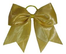 "NEW ""SPARKLE DOTS Yellow"" Cheer Bow Pony Tail 3"" Ribbon Hair Bows Cheerleading"