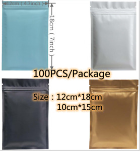 100 Small Matte Plastic Resealable Bags Baggy Baggies Grip Self Seal Zip Lock