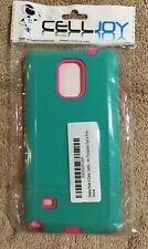 Samsung Galaxy Note 4 Phone Case by CellJoy in Turquoise-like Teal and Pink. NEW