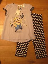 H&M Girls Jersey Minions Pyjamas Top Bottoms 4-6 Year BNWT RRP £13.98 Light Blue