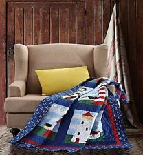 "*NEW* Virah Bella Lighthouse Patchwork Quilted Throw Blanket 50"" x 60"""