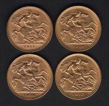 Australia.  Sydney Half Sovereigns : 1911,1912,1914 & 1915..  gVF-aUNC.  4 Coins