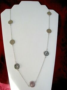 """MILOR 925 STERLING SILVER LIRA COIN STATION LONG NECKLACE 36"""" LONG ITALY"""