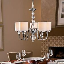 [NEW] Saint Mossi Metal Crystal Chandelier with Fabric Lampshade Ceiling Pendant