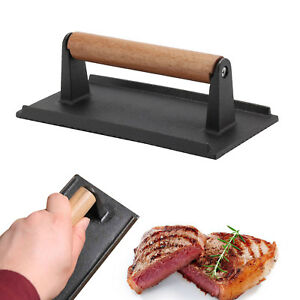 Cast Iron Bacon Steak Meat Press Grill BBQ Cooking Weight Kitchen Barbeque New
