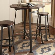 Industrial 3 Pc Bistro Pub Set Table Tall Bar Stools Rustic Metal Wood Kitchen