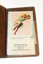 Vintage 1952 Pin-Up Calendar Notebook in Faux Leather Holder Kansas City Ads