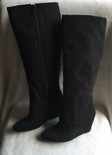 Jessica Simpson Riese tall wedge boots long shaft cuff covers black size US 6