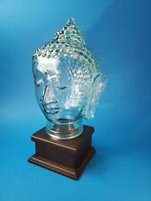 """Buddha Head Hollow Recycled Green Glass Vidrios of San Miguel, Made in Spain 12"""""""