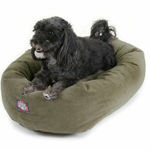 24 inch Sage Suede Bagel Dog Bed By Majestic Pet Products