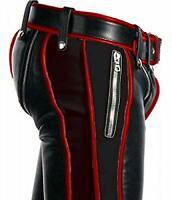 Mens Real Black Leather Heavy Duty Bondage Pants Jeans BLUF Men Pant Trouser