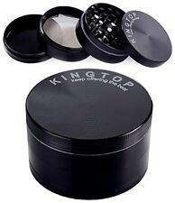 Kingtop Fine Herb Grinder Hand Crank Crusher 3 Inch Black Tobacco Spice 4 Layer