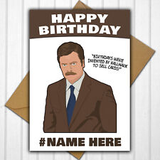 Ron Swanson Parks and Recreation Personalised Birthday Card Any Name/Relative