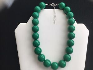 Women's Chunky Forest Green Bead Choker Necklace