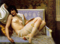Art Oil painting Guillaume Seignac - Young woman naked on a settee canvas