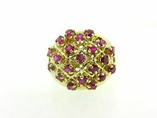 Vintage Gorgeous Natural Ruby & Solid 18K Yellow Gold Large Cocktail Ring