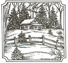 Cabin And Fence Scene Wood Mounted Rubber Stamp Northwoods Rubber Stamp New