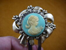 (CHS23-3) Ponytail lady blue cameo hair pin pick stick accessory brass