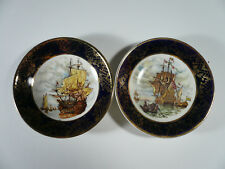 "Vtg Set of 2 Weatherby Hanley England Royal Falcon Ware Sail Ships 4"" Dishes"