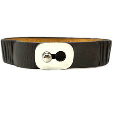 Vtg. Leather Stretch Waist Belt Statement Keyhole Mod Buckle