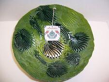"Anatolia Handmade Large Centerpiece Green & Black Glass Bowl (11 ¾"") Turkey NWT"