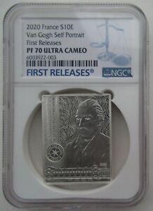 NGC PF70 France 2020 Van Gogh Self Portrait Rectangle Silver Coin S10E COA