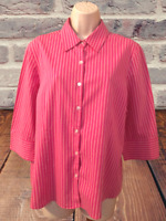 George Stretch Blouse Size XL (16/18) 3/4 Sleeve Striped Button Down Shirt