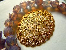 En filigrane bronze goldwashed courbée ovales - 30x23mm-M. fines décorations