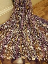 "1M purple /gold/white    tulle bridal  EMBRIOUDED  FABRIC 58"" WIDE"