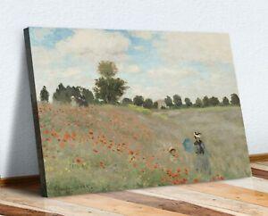 CANVAS WALL ART 30MM DEEP FRAMED PRINT ARTWORK  Claude Monet - Poppy Field