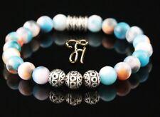 Jade blau bunt Armband Bracelet Perlenarmband Silber Beads Buddha