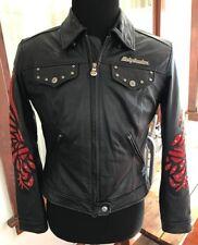 Harley Davidson Leather Jacket SANTA CRUZ Black with Red Suede 97088-03VW SMALL
