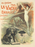 Original Vintage Poster French Pal La Vache Enragée Cow Literary Periodical 1896