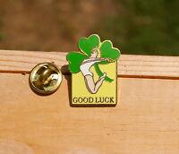 "Good Luck Clover Gymnastics 1"" Gold Tone Metal & Enamel Lapel Pin Pinback"