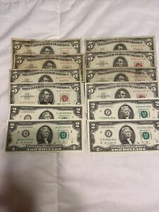 $5 & $2 DOLLAR US CURRENCY 12 NOTE SET / COLLECTION 1963 & 2013
