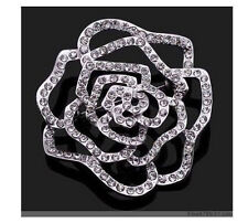 Silver Color Rhinestone Pin Brooches Wholesale New Fashion 12Pcs Large Flower