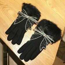 Women's Warm Winter Gloves Rhinestones Bowknot Fur Touch Full Finger Mittens New