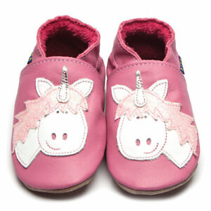 Inch Blue Rose Pink Unicorn Soft Leather Baby Shoes -  0-6 Months