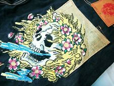 HOT DON ED HARDY CHRISTIAN AUDIGIER SKULL CRYSTAL EMBROIDERED BAGGY Jeans 38 x32