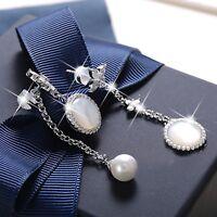 18k white gold gf crystal dangle earrings star pearl shell ear jacket 925 silver