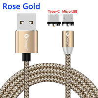 360°Round Nylon Braided Magnetic Micro USB/Type-C Fast Charger Cable For Phones