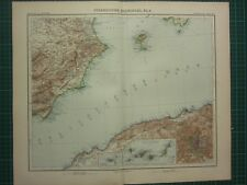 1907 DATED MAP ~ SPAIN SOUTH EAST SECTION ~ IBIZA MADRID CITY PLAN ENVIRONS