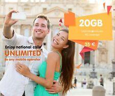 PREPAID spainish carte SIM 20 Gig Données Unlimited Appel en Espagne, livraison gratuite au Royaume-Uni