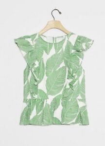 NWT Anthropologie Waverly Grey Botanique Linen Blouse Medium B-1001